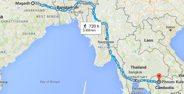 Brahmin Hiranyadama of Cambodia of 780 AD - Map