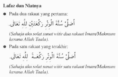 Ramadhan : Lafaz Niat Shalat Witir 2 Dan 1 Rakaat