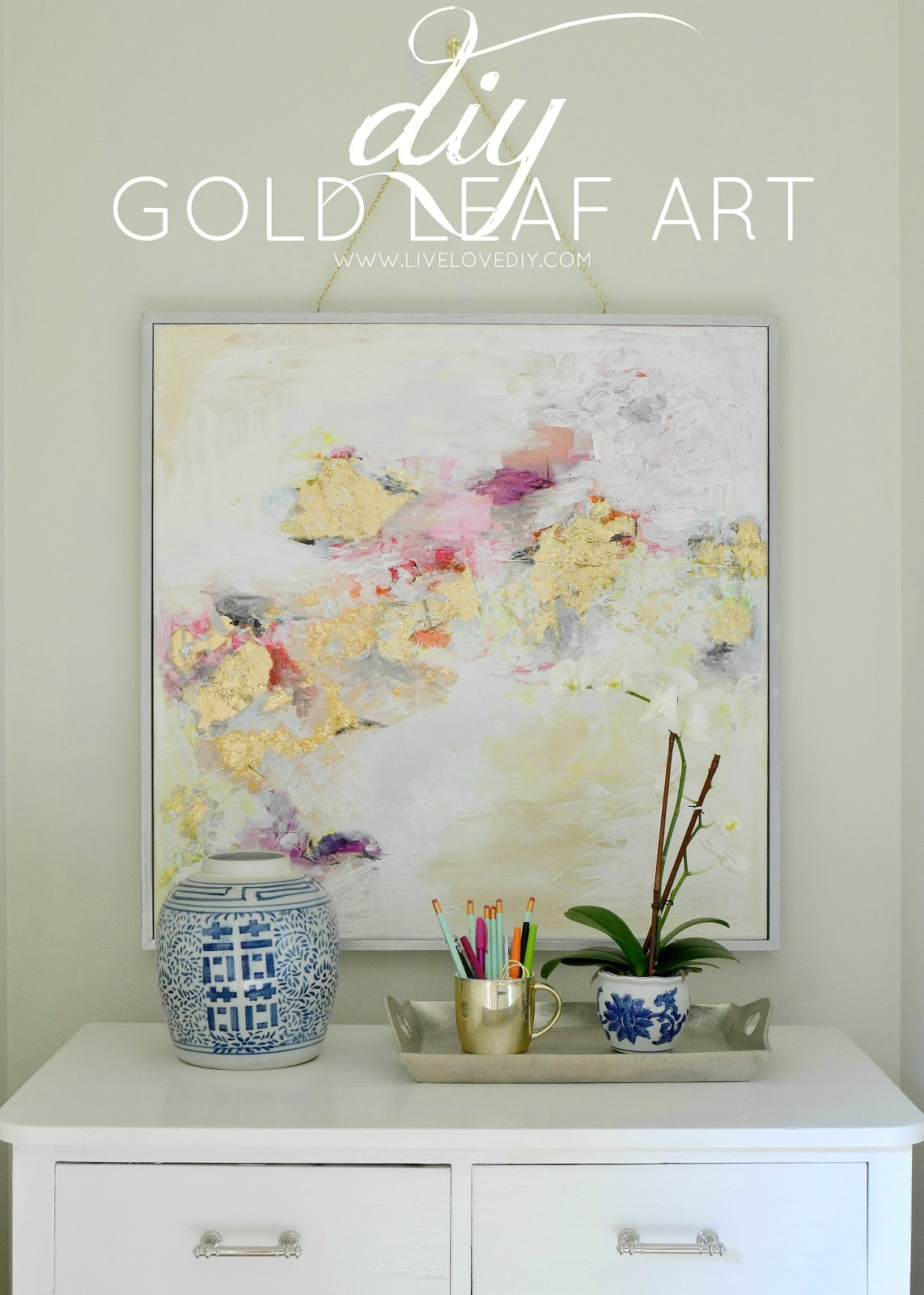 Livelovediy how to make gold leaf art round two for Cheap artwork ideas