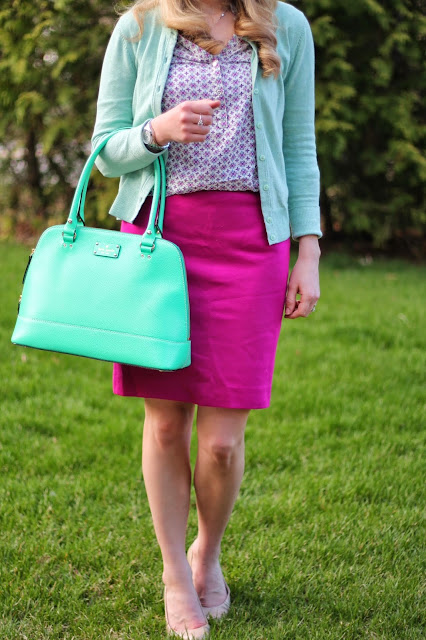 Printed pink top, mint cardigan, pink pencil skirt, nude heels, mint Kate Spade bag