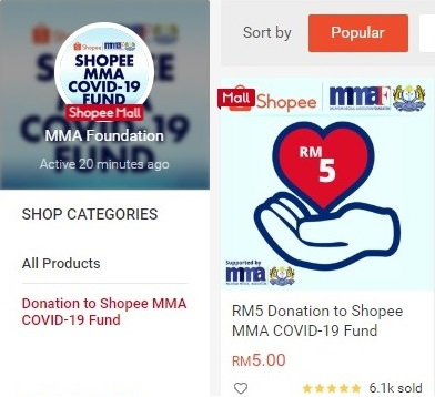 Shopee MMA Covid 19 Fund