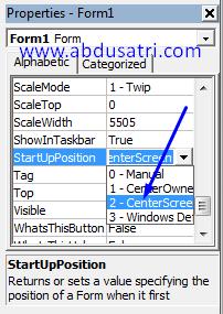 cara mengatur posisi form VB ditengah layar monitor