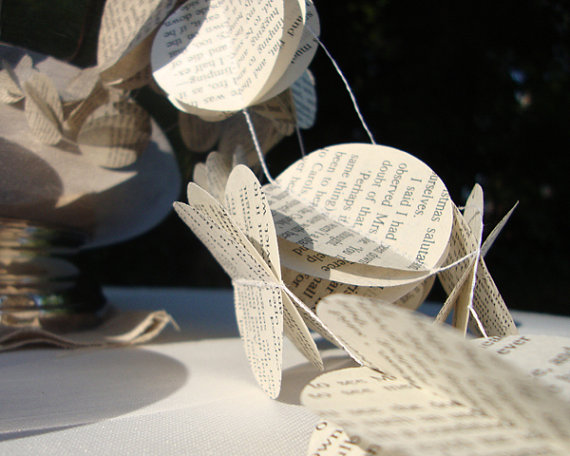 Rustic Book Page Garland Wedding Decoration