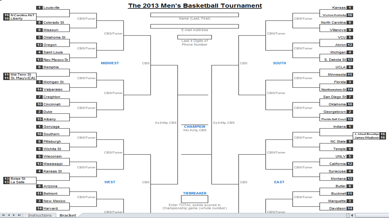 Excel Spreadsheets Help: Downloadable 2013 NCAA Tournament Bracket