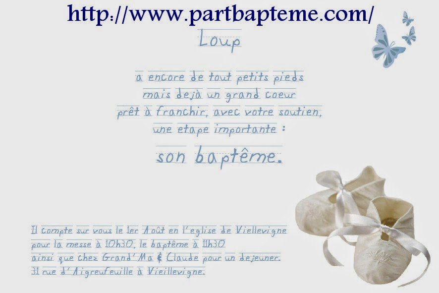 Faire part bapteme /Une belle carte bapteme