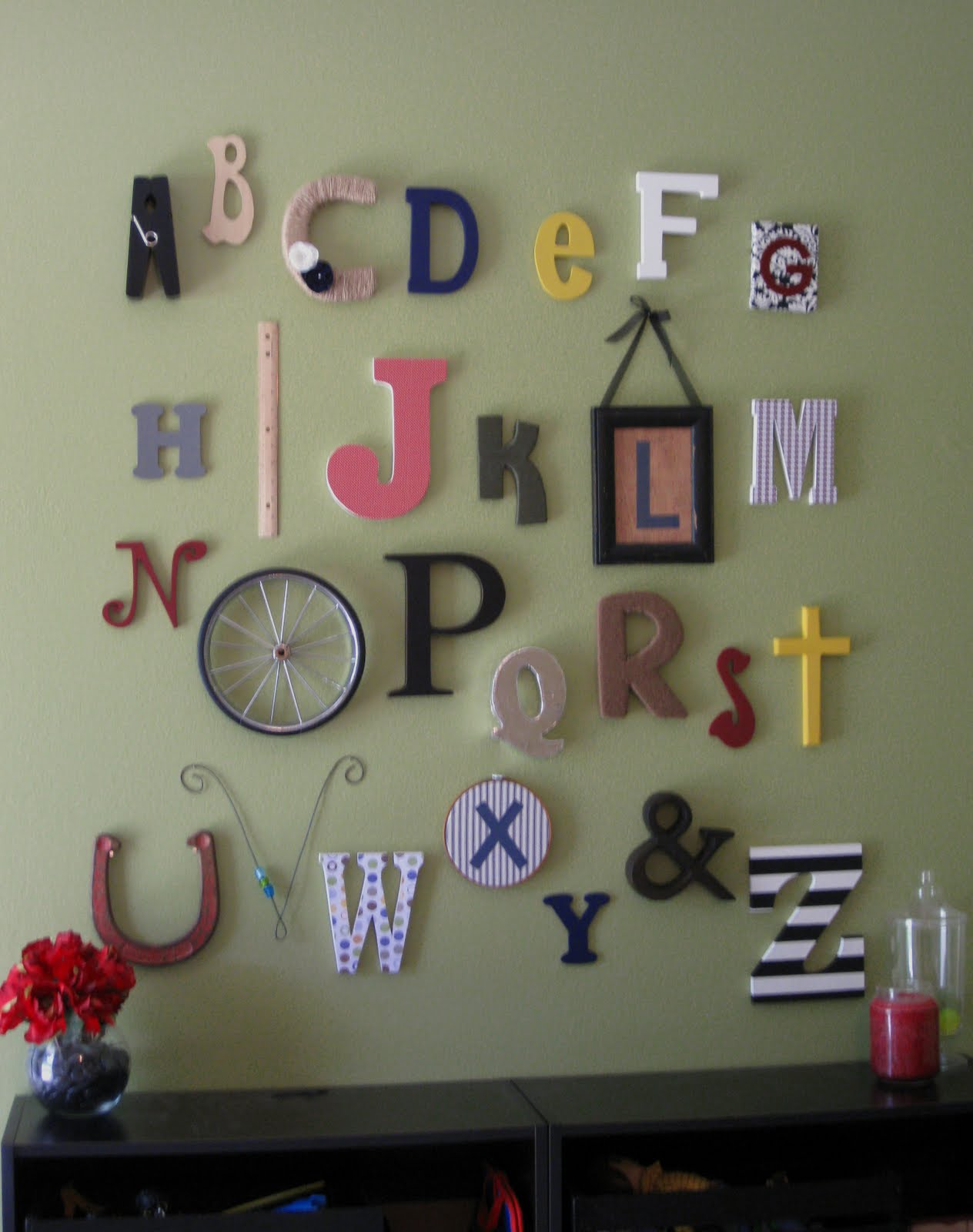 Our small tree alphabet wall at last for Wall letters kids room