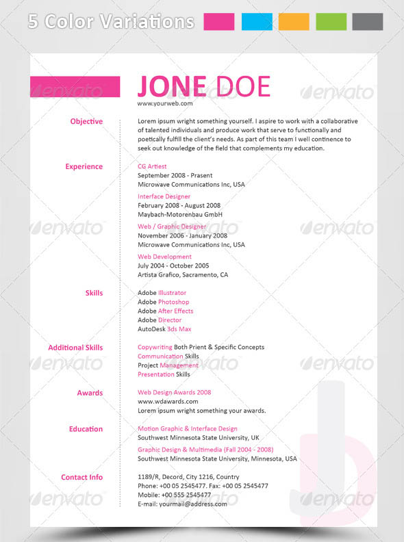 Best Resume Title Font