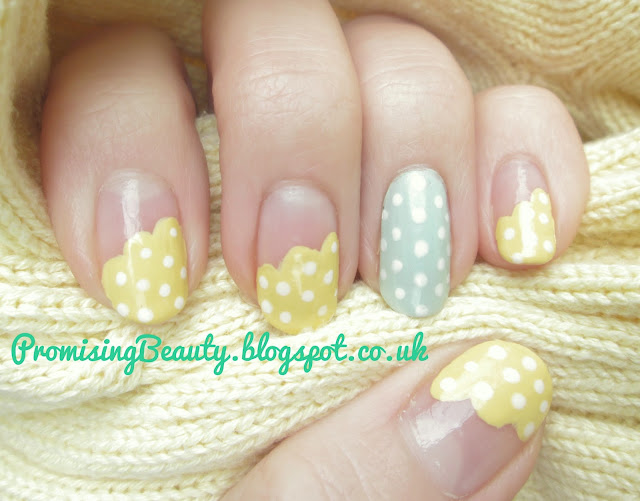 Nail art summer manicure. Superdrug nail polish by miss sporty and MUA in sunshine yellow and mint green with Barry M white polka dots and Barry M shiny topcoat and base coat.