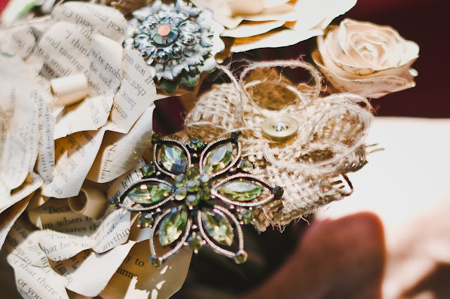 burlap, paper, brooch, bouquet