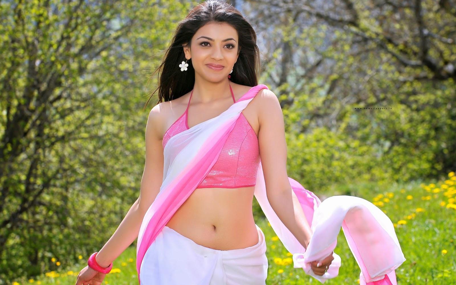 Kajal agarwal white sexy saree widescreen photo