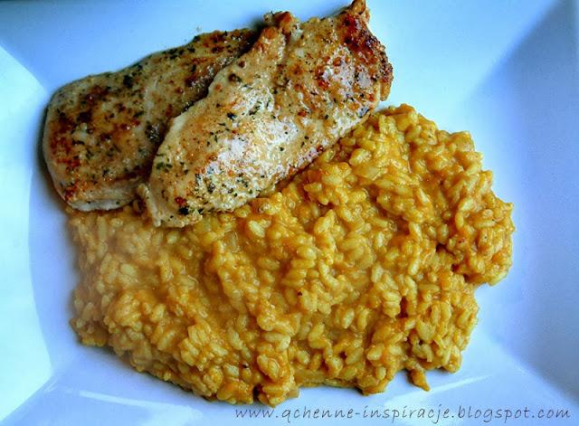 Risotto z dynią,cynamonem i parmezanem w towarzystwie marynowanego, grillowanego kurczaka