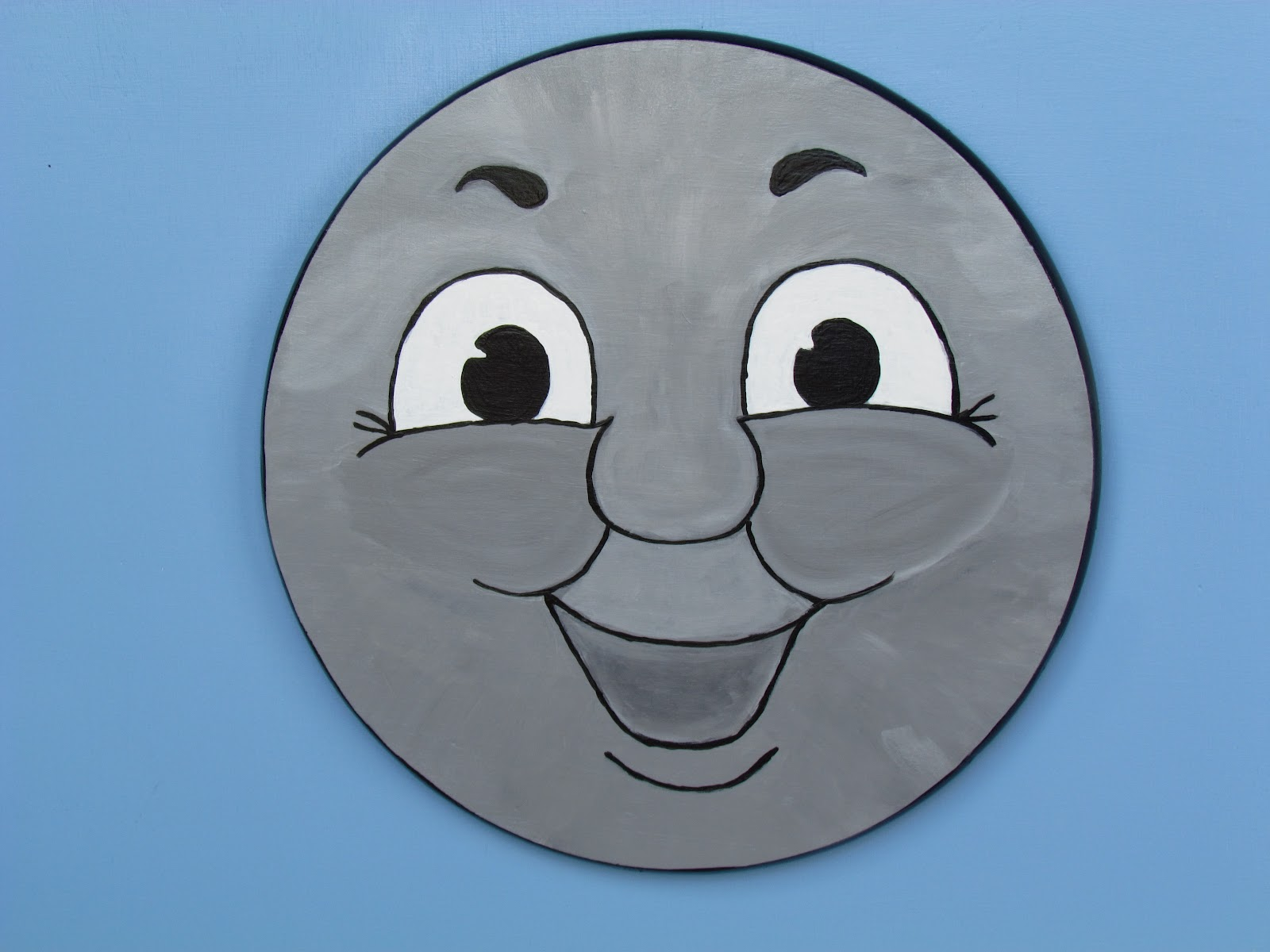Thomas The Train Face Cut Out The face is painted on a round