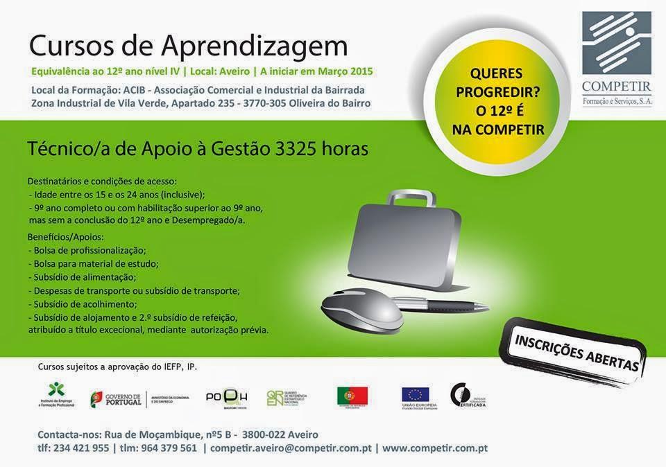Curso de aprendizagem financiado em Oliveira do Bairro (equivalente ao 12o)