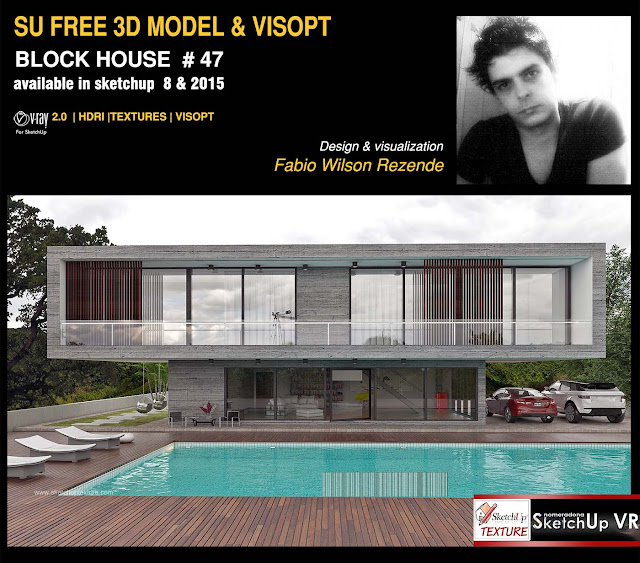 free sketchup model concrete block house 47 vray visopt by f bio