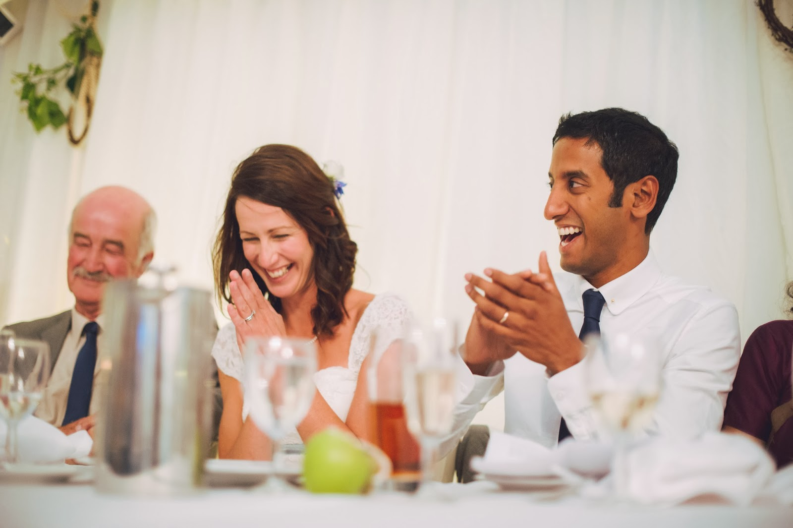 Reaction to speech at Quantock Lakes wedding