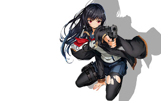 Long Hair Pistol Gun Pointing Gilr Anime HD Wallpaper Desktop PC Background 1849