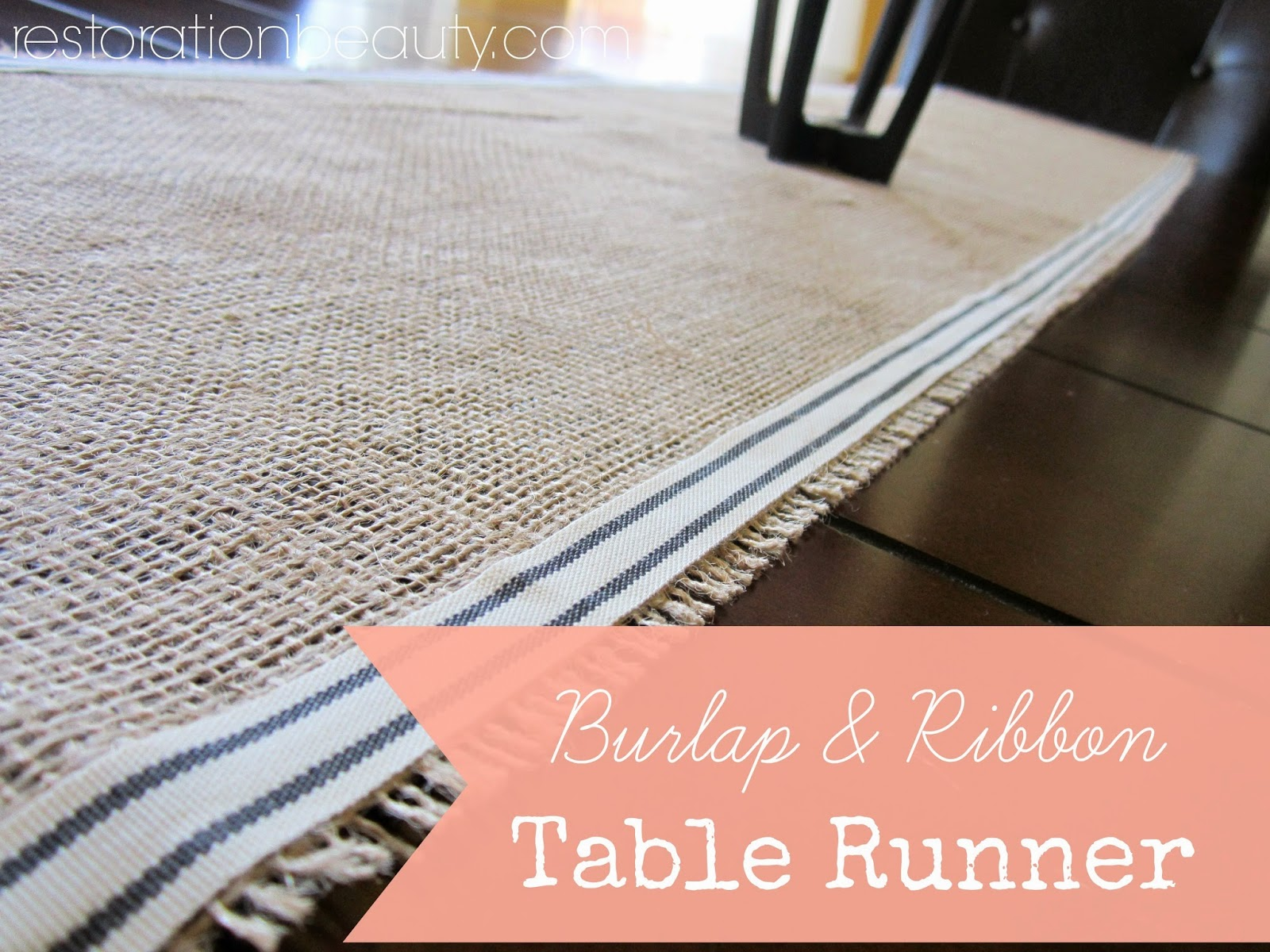 Restoration BeautyBurlap  Ribbon Table Runner