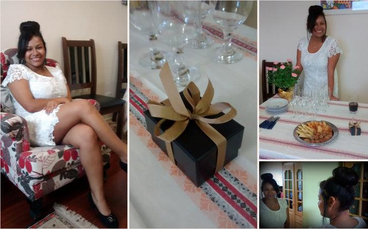 noivos, presentes, noivado, jantar, festa Noiva, alianças