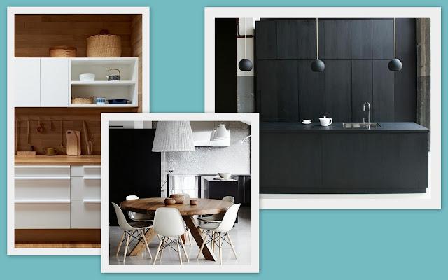 cocina moderna, lineal en blanco, madera y negro