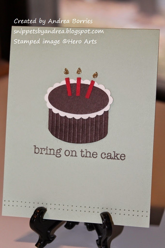 "Clean and simple card with a focal image of a ""cake"" made with punched shapes and the stamped sentiment ""bring on the cake."""
