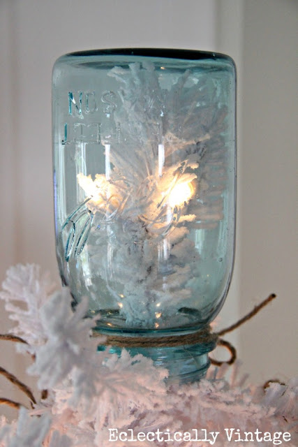 White mason jar Christmas tree, by Eclectically Vintage, featured on I Love That Junk