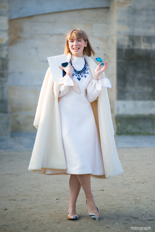 mitograph Vika Gazinskaya wearing all white Paris Fashion Week 2013 2014 Fall Winter PFW Street Style Shimpei Mito