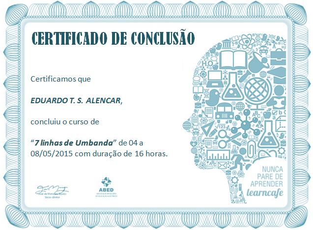 """Certificado: """"7 Linhas de Umbanda"""""""