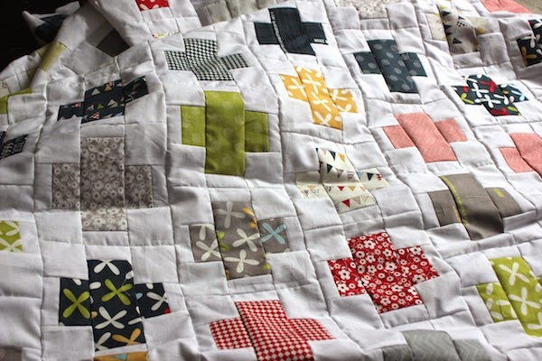 Plus quilt with bright colours
