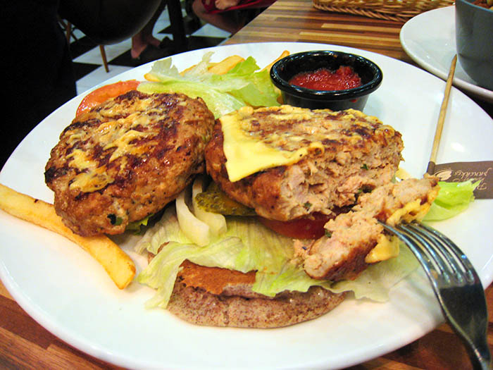 pancake double decker chicken burger photo