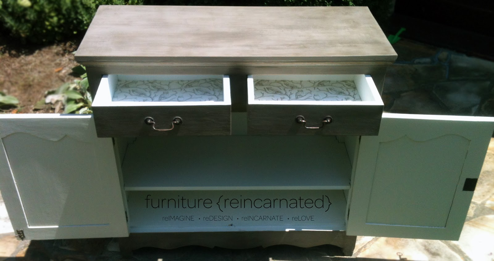 ballard designs console table from green ish to gray ish paint after