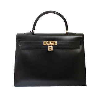 Vintage 1990's black leather Hermes Kelly bag with gold hardware.