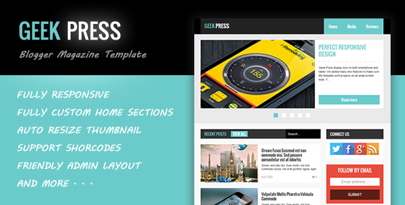 Geek Press - Responsive News & Magazine Template Free Download