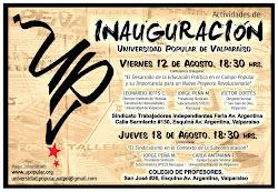 Invitación a la Inauguración Universidad Popular de Valparaíso