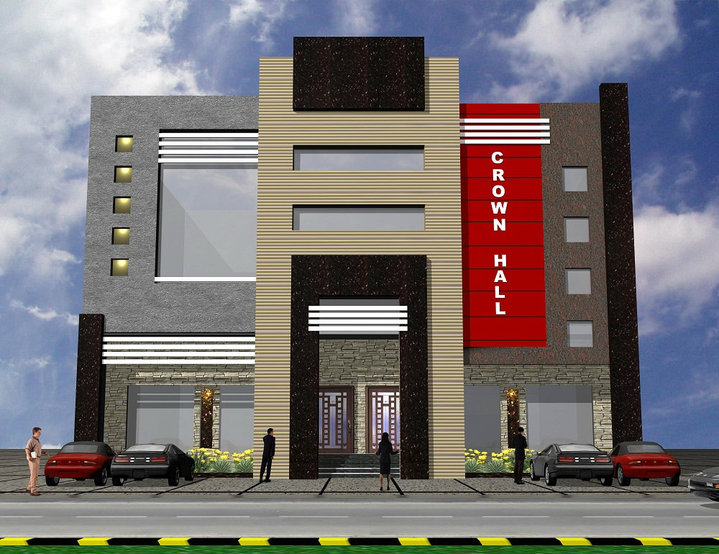 3d front 3d front elevation of plaza for Small commercial building plans