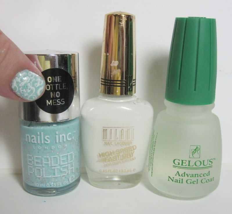 Bottle shot:  Nails Inc Beaded Polish Covent Garden, Milani White On The Spot, and Gelous.