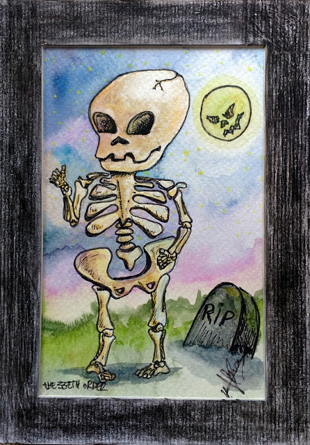 Small Art: Little bones (skeleton) by Elizabeth Casua, tHE 33ZTH oRDER. Watercolour + ink