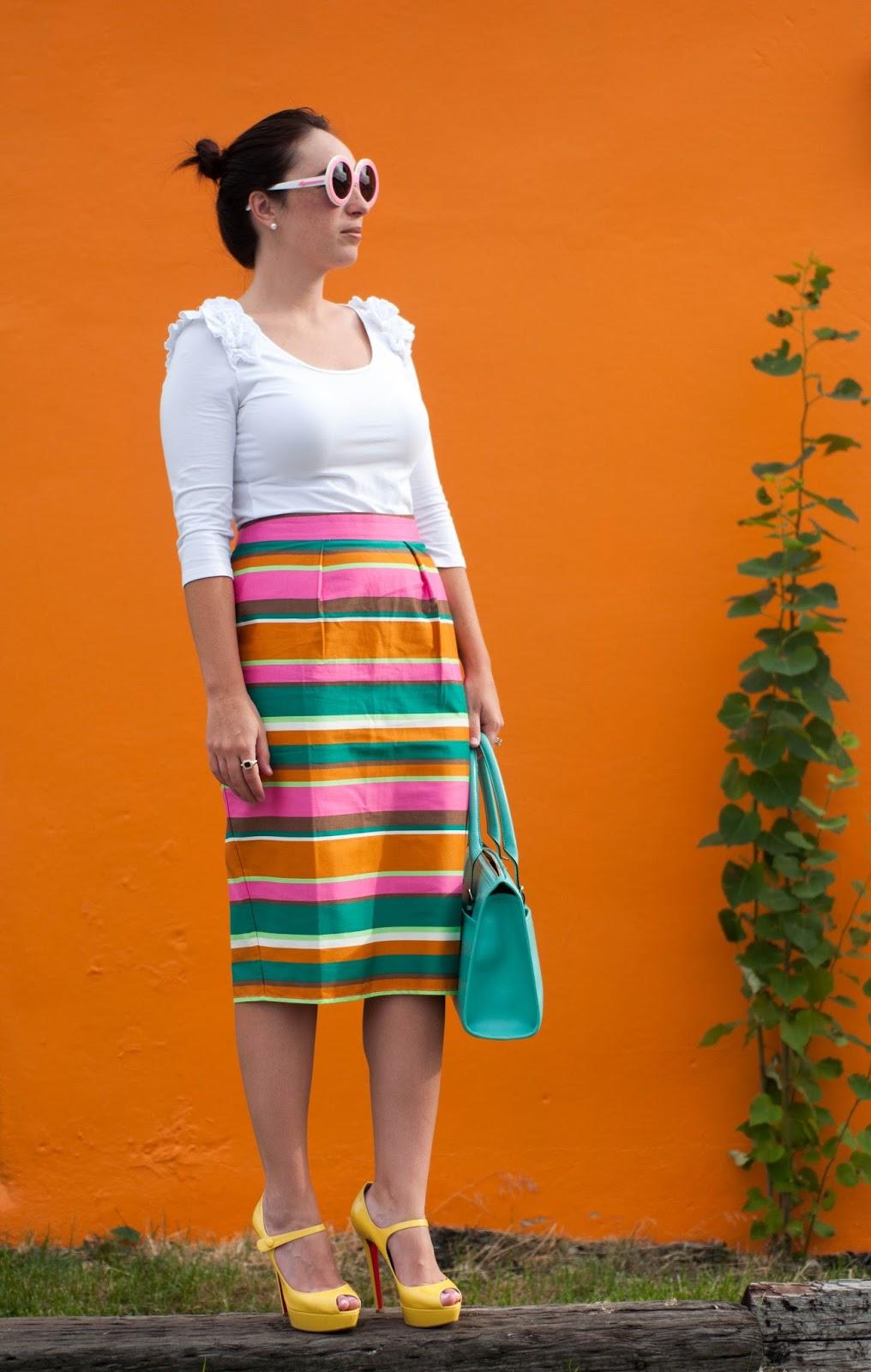 ootd, fashion blog, style blogger, karen walker iris sunglasses, red soles, yellow christian louboutin heels,