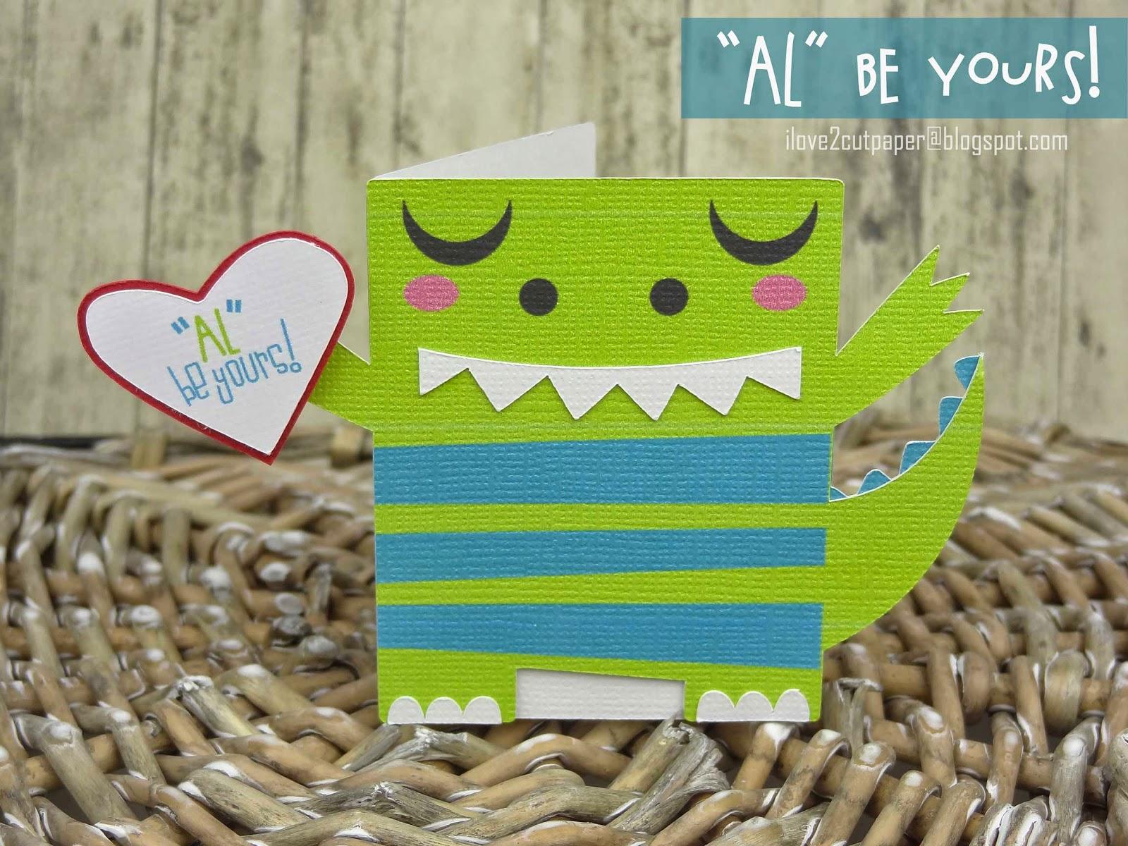 Alligator card, Valentine themed