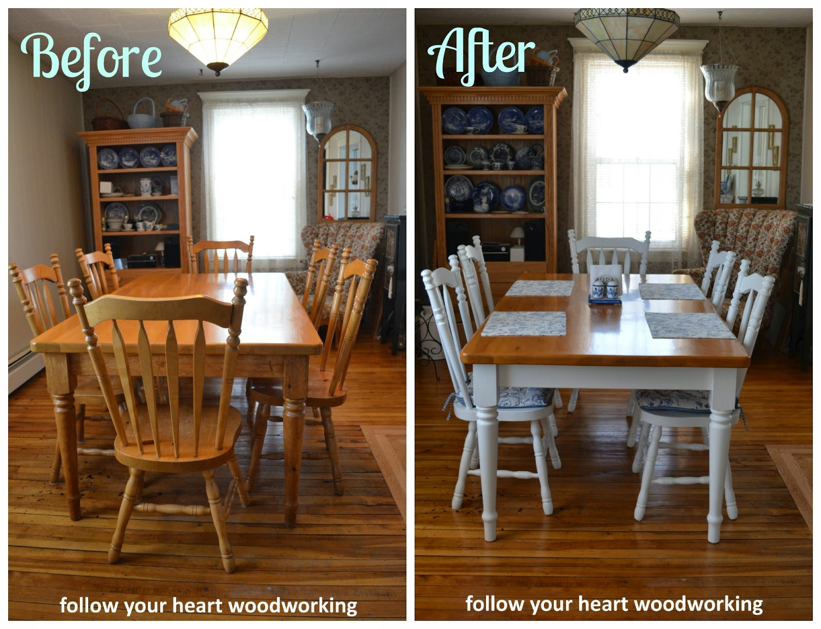 Follow your heart woodworking painting a farmhouse table for Painted dining table before and after