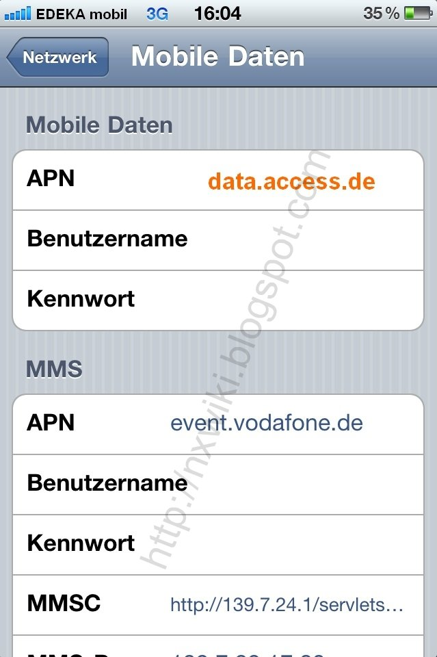 Edeka mobil APN Einstellung iPhone /iPad: