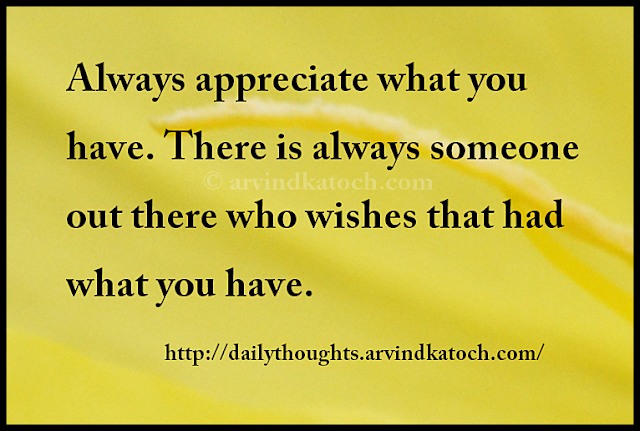 appreciate, wishes, Daily Thought, Quote