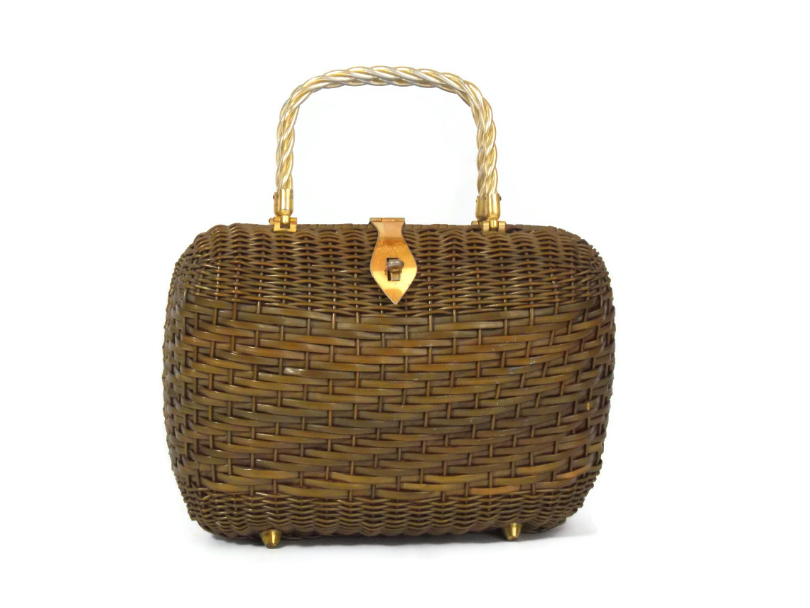 1960s wicker and metal bag