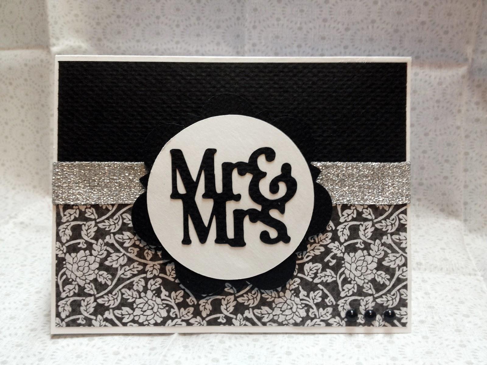 How to scrapbook wedding cards - Mr Mrs Wedding Card Using Artiste Cricut Cartridge