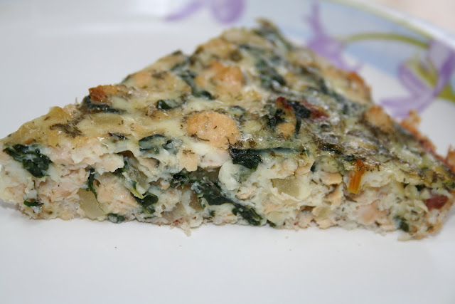 Crustless Salmon Quiche with Swiss Chard