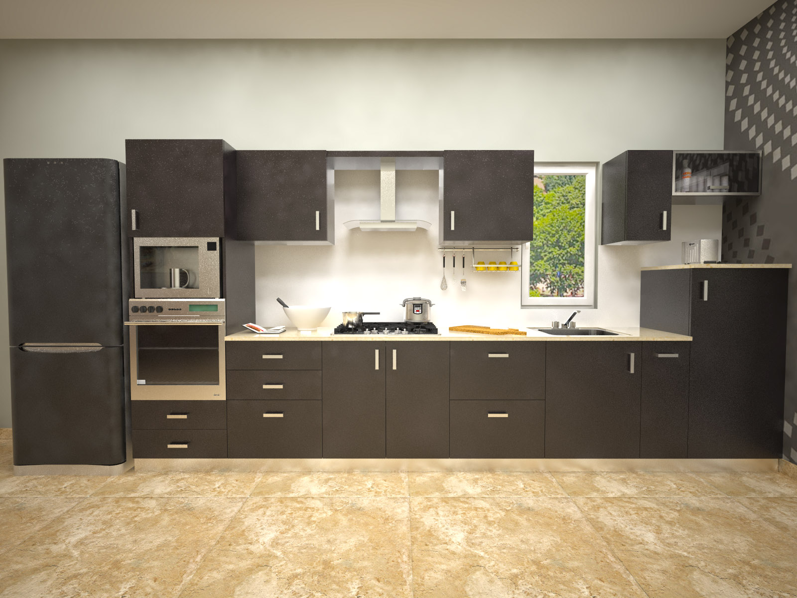 Aamoda kitchen glossy laminated indian parallel kitchen for Best material for kitchen cabinets in india
