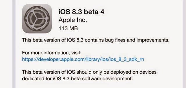 iOS 8.3 Beta 4 download