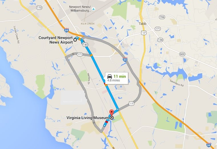map showing Virginia Living Museum is 11min/4.8 miles from Courtyard Newport News Airport