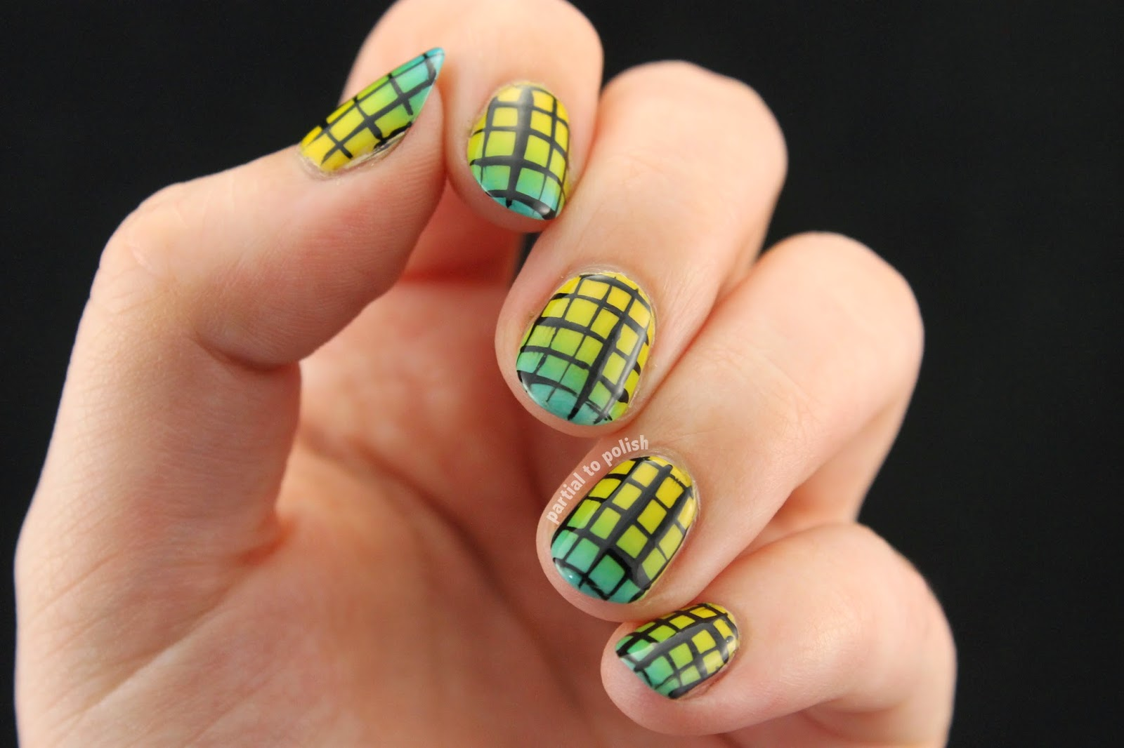Yellow to Blue Gradient Topped with a Grid Design Featuring American Apparel Polishes