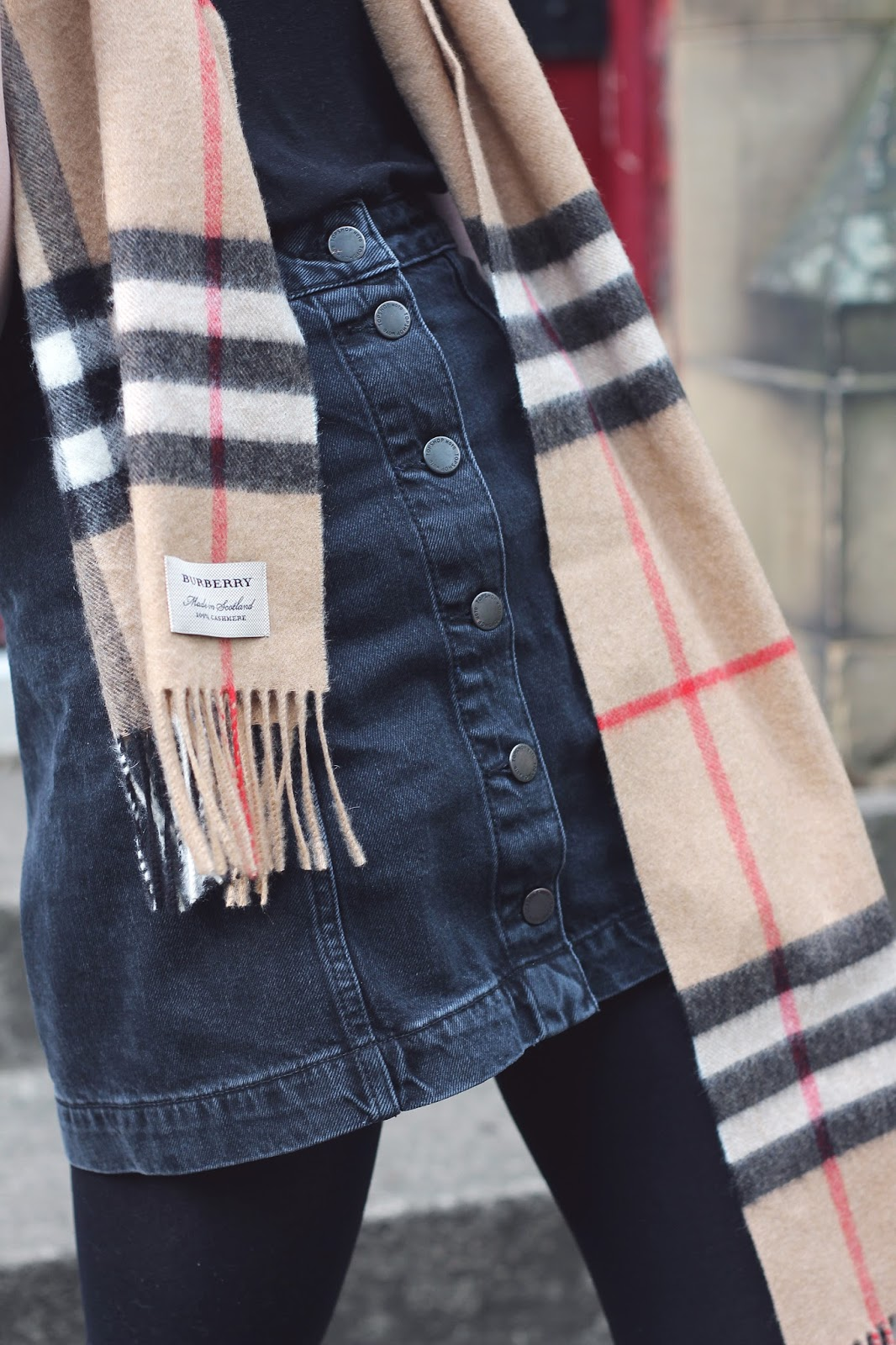 black denim skirt burberry scarf