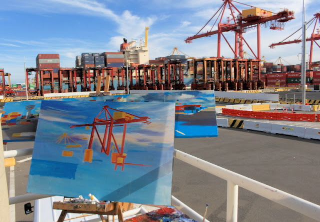 plein air oil painting by artist Jane Bennett of the last non automated straddle cranes operating at Patrick Terminal Port Botany